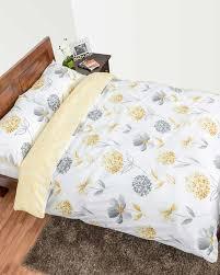 lemon white and grey fl duvet cover set