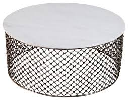 sigrid global white marble iron coffee table