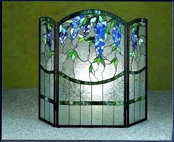 stained glass fireplace screens place fire screen with door patterns