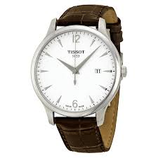 mens tissot watches tissot t classic tradition silver dial brown leather mens watch t0636101603700