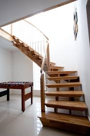 Mesmerizing Wooden Stepladder With Simple Staircase Design Also White Wall  Interior Painted As Well As Wooden Table Under Stairs Decor Views