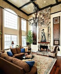 full image for high ceiling led recessed lighting modern living room large mirrors fireplace chandelier brown