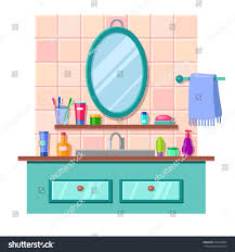 cartoon bathroom sink and mirror.  And Vector Cartoon Bathroom Interior Mirror Sink Stock Awesome Looking  In And R
