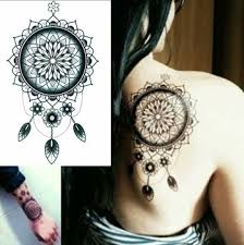 Dream Catcher Tattoo Behind Ear Mandala Dreamcatcher TattooForAWeek Temporary Tattoos Largest 89