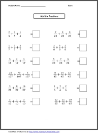Addition of fractions worksheets : Kelpies