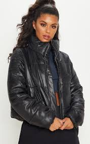black high shine cropped puffer jacket image 1