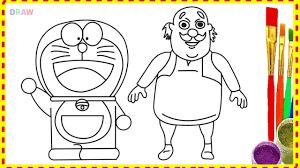 draw doraemon and motu patlu characters cartoon in hindi coloring for kids learn drawing in hindi