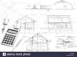 architectural drawings. Drawing Compass, Calculator, Pencil And Architectural Drawings Of Modern House