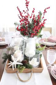 Christmas centerpiece idea in red and white and evergreens