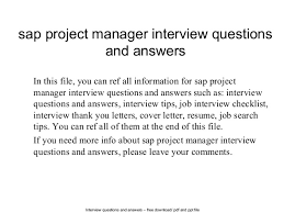 Sap Project Manager Interview Questions And Answers Best Solutions