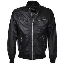 leather biker style er jacket black moston