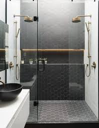 Black Honeycomb Tiles In The Shower To Highlight The Zone Front Delectable Black Bathroom Tile Ideas