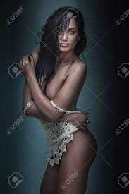 Sexy Brunette Woman Posing Naked With Wet Hair Stock Photo Picture And Royalty Free Image Image 76607287