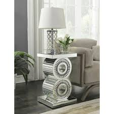 mirrored side table. Crystal Mirrored Side Table E