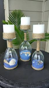 beach candle holder yankee chair tealight seashell and sand wine glass