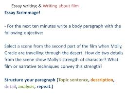 essay writing writing about film part the return brought to  15 essay