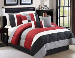 Red Black And Grey Bedroom Minimalist Rectangle Red White And Black Polyester Geometric
