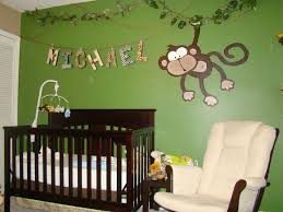 Green Wall Name Sign Jungle Theme Baby Nursery Monkey Swinging On Leaf  Decals Oak Wood Crib Cream Colored Couch