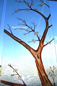 frosted glass painting decorative glass door cherry blossom tree frosted painted painting frosted glass ornaments frosted glass painting