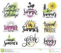 Set Of Handwritten Inspirational Summer Phrases Vector Fun Quotes