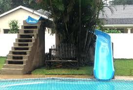 diy pool slide above ground water waterfall homemade inground