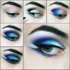beautiful intensive blue look eye make up tutorial