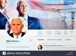 Mike Pence Twitter account home page ...