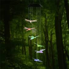 garden outdoor lighting. dragonfly led solar panel wind chime night light colorchanging garden outdoor lighting t