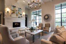 living room with white brick fireplace and hearth view full size
