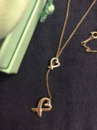tiffany co sterling silver paloma picasso loving heart lariat necklace discontinued with box and pouch
