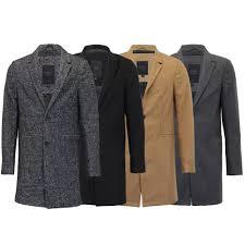 mens wool mix jacket threadbare long trench coat