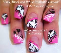 Robin Moses Nail Art: Neon Pink with White butterfly Nail Art ...