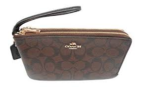 Coach Signature PVC Large Double Zip Wristlet Purse Brown Black F16109