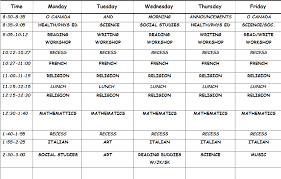 Daily Time Table Daily Schedule Ms Gagliardis Grade 6 Classroom