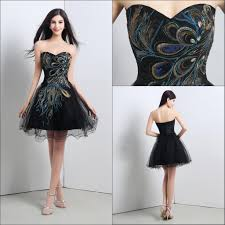 In Stock Black Cocktail Dresses With Sequins Peacock Tulle