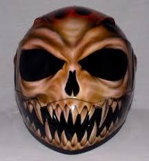 custom painted airbrushed flaming dark lord skull motorcycle