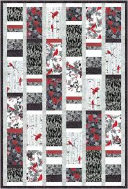 Hoffman Fabrics - Woodsy_black   Projects to Try   Pinterest ... & Larger rectangles wih another long block of stacked strips. Free Quilt  Pattern: Woodsy Winter black-white, maybe a good layout for the  red,black,white ... Adamdwight.com