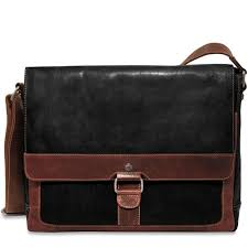 voyager slim messenger bag handmade in hand stained two tone buffalo leather