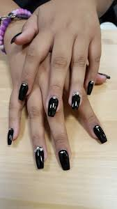 Black Coffin Shape Nail Designs Coffin Shape Acrylic Nail With Swarovski Stone Designs