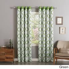 girls sage grey white moroccan window curtain 96 inch pair panel set light gray color geometric trellis ornate pattern bohemian window treatment