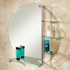 Round bathroom mirror with shelf