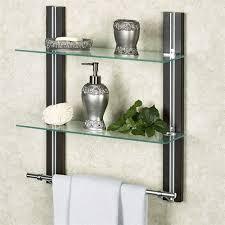 two tier glass wall shelf with towel bar espresso