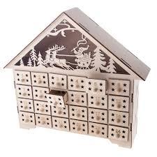 gisela graham wooden fretwork light up house advent calendar