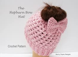 Bun Hat Pattern Mesmerizing Messy Bun Hat Crochet Pattern Audrey Hepburn Bow Hat Crochet