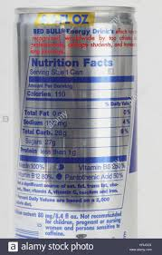 nutrition facts for energy drink stock photo 13 alamy