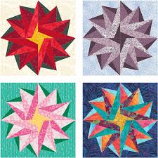 Poinsettia Star – free paper pieced quilt block pattern | Piece By ... & Poinsettia Star quilt block variations Adamdwight.com