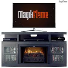 walnut media center electric fireplace wall mantel tv stand w realistic fireplace insert