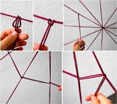 Creating the DIY yarn spider web DIY Halloween Decorations: Spooky Spider  Web And A Giant