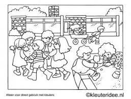 Kleurplaat Kleuters Spelen Buiten Kleuteridee Preschool Playing
