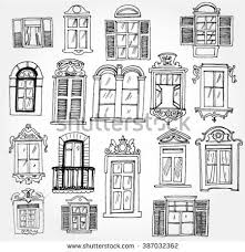 window designs drawing. Contemporary Designs Set Of Vintage Windows Intended Window Designs Drawing D